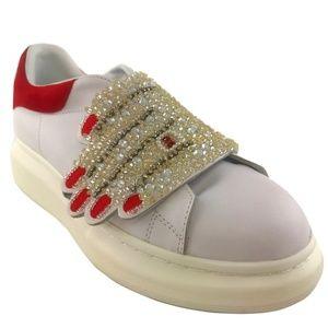 Alexander McQueen Leather Sneaker w/Jeweled Hand